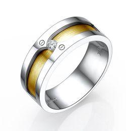 Bague homme duo d'or jaune et blanc 18cts - Diamant 0.060ct demi-clos