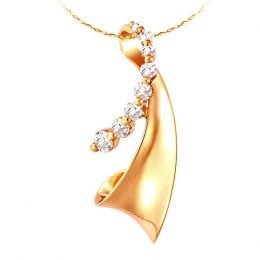 Création contemporaine d'un pendentif or jaune et diamants 0.29ct