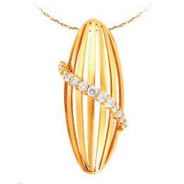 Pendentif courbe barrettes or jaune - Diamants sertis griffes 0.304ct