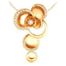 Pendentif or jaune 18 carats - 3 arc en diamants