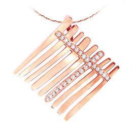 Pendentif stylé mer océane - 9 barrettes or rose - Diamants 0.177ct