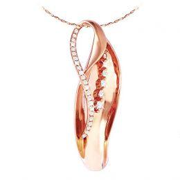 Création pendentif or rose - Naissance du végétal - Diamants sertis