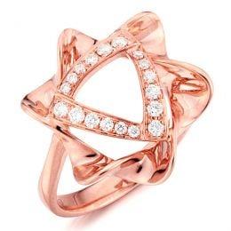 Bague étoile - Or rose - Pavage diamants 0.21ct
