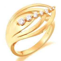 Bague fiançaille - Bague en or jaune 18 carats - Diamants 0.204ct