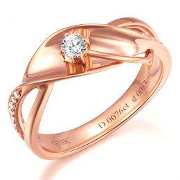 Bague fiançaille en or rose 750/1000 - Diamants 0.129ct