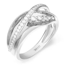 Fiançaille bague - Bague en or blanc 18cts - 35 Diamants de 0.33ct
