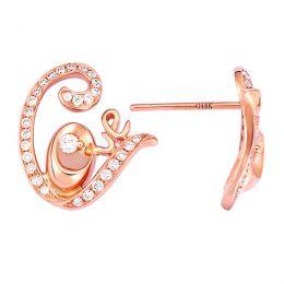 Boucles d'oreilles contemporaines Love en or rose - Diamants 0.35ct