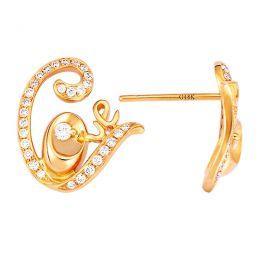 Boucles d'oreilles pendants or jaune et diamants - Collection LOVE