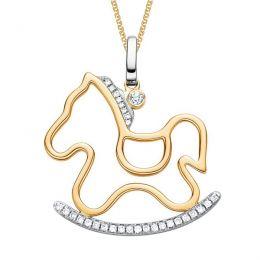Pendentif cheval 2 ors blanc et jaune, diamants - Création joaillerie
