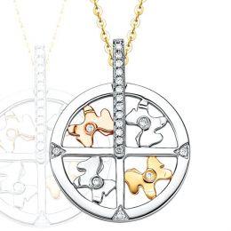 Pendentif 3 ors diamants - Le carroussel enchanté et ses chevaux