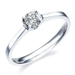 Bague solitaire or blanc - Diamant 0.20ct