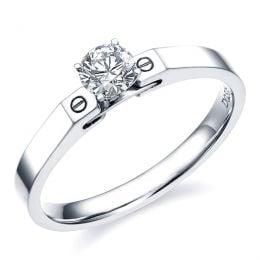 Un solitaire bague - Or blanc, diamant 0.31ct - Fiancailles