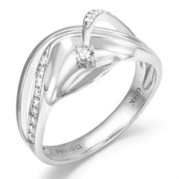 Bague or diamant - Or blanc 18 carats - Diamants 0.154ct
