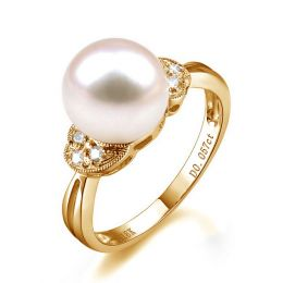 Bague perle Chine - Perle d'eau douce blanche - Diamants, or jaune