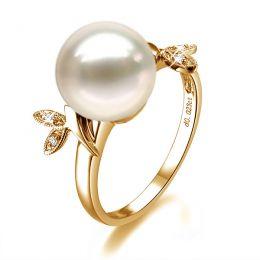 Bague en forme de feuille - Or jaune et perle blanche - Diamants