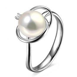 Bague perle d'eau douce blanche - 9/10mm, AAA - Or blanc, diamant
