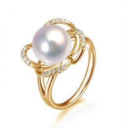Bague en perle monde floral - Perle de culture or jaune et diamants