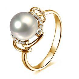 Bague contemporaine perle blanche - Or jaune 750/1000 et diamants