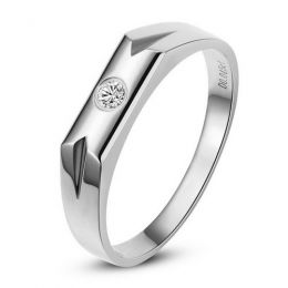 Alliance Homme. Or blanc. Diamant 0.045ct