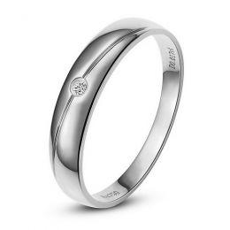 Alliance Femme. Or blanc. Diamant 0.015ct
