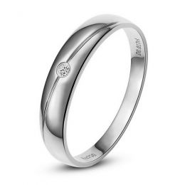 Alliance Homme. Or blanc. Diamant 0.017ct
