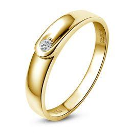 Alliance diamant et or jaune - Anneau Homme