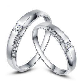Achat alliances mariage - Alliances Solitaires Duo - Or blanc, diamants