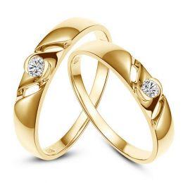 Bijoutier alliances de fiançailles - Alliances Duo diamants - Or jaune