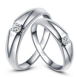 Alliances solitaires or blanc - Bagues alliances diamants - Couple