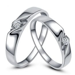 Alliances mariage en or - Alliances Duo - Or blanc 18 carats - Diamant