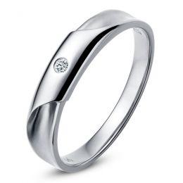 Alliance Homme - Or blanc - Diamant 0.045ct