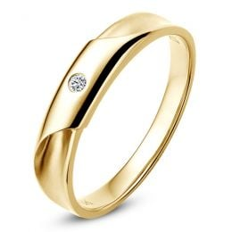 Alliance Homme. Or jaune. Diamant 0.045ct