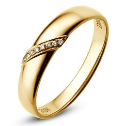 Alliance Homme. Or jaune. Diamants 0.03ct