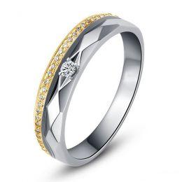 Alliances Femme 2 ors - Or blanc, jaune - Diamants - Anneau à facettes