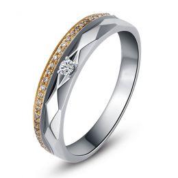 Alliance Femme 2 ors - Or blanc, rose - Diamants - Anneau à facettes