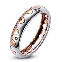 Alliance 2 ors - Alliance Femme or blanc et rose - Diamants