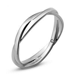 Alliance 2 anneaux. Alliance Femme. Platine et Diamant