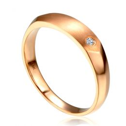 Alliance homme taillée en oblique - Or rose 750/1000, Diamant