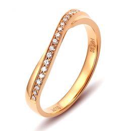 Alliance diamants ondulation précieuse - Alliance pour femme or rose