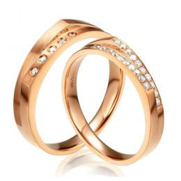 Alliances Homme et Femme en Or Rose 18cts et Diamants