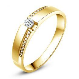 Alliance solitaire or jaune 750/1000 - Bague Femme diamants