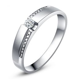 Alliance solitaire or blanc 750/1000 - Bague Homme diamants