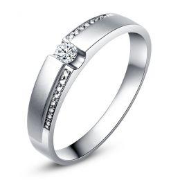 Alliance solitaire or blanc 750/1000 - Bague Homme diamants