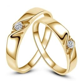 Alliances mariage en or - Alliances Duo - Or jaune 18 carats - Diamant