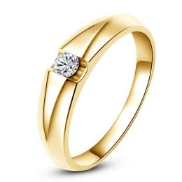 Alliance solitaire or jaune - Bague alliance diamant pour Femme