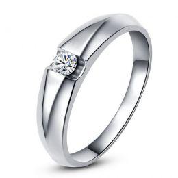 Alliance solitaire or blanc - Bague alliance diamant pour Homme