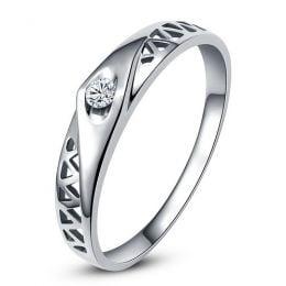 Alliance contemporaine -  Alliance Homme Or blanc - Diamant