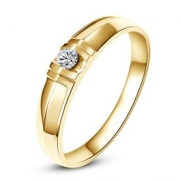 Alliance solitaire sophistiqué - Alliance homme - Or jaune, Diamant