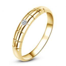 Alliance quadrillage pour homme - Or jaune, diamant serti clos
