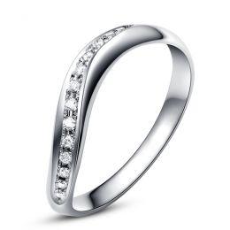 Alliance ondulée platine - Alliance femme avec diamants